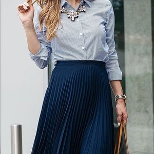 NWT Christopher & Banks Striped Pleated Skirt